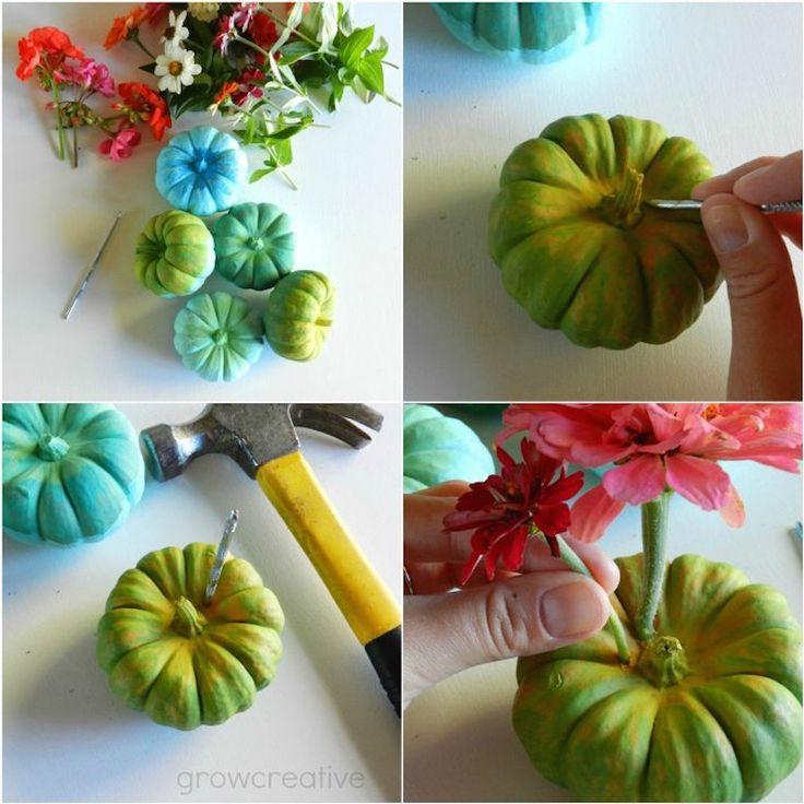Cómo hacer unas calabazas que sirvan de floreros  #decoracion #halloween #diy