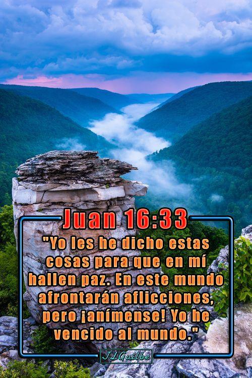 """- Juan 16:33 - """"Yo les he dicho estas cosas para que en mí hallen paz. En este mundo afrontarán aflicciones, pero ¡anímense! Yo he vencido al mundo."""""""