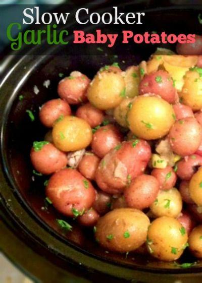 Slow Cooker Garlic Roasted Baby Potatoes Recipe  | whatscookingamerica.net  | #slowcooker #garlic #potatoes #crockpot