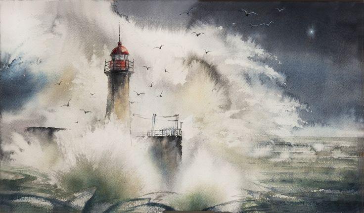 Картинки по запросу маяк и море акварель