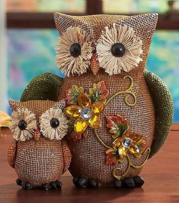 Pair of Owls Autumn Harvest Ceramic Owl Figurine Burlap Sculpture Fall Decor #Unbranded