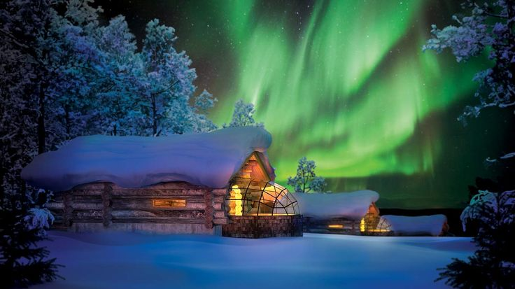 log cabin with glass igloo to watch the northern lights in Finland! How gorgeous!!