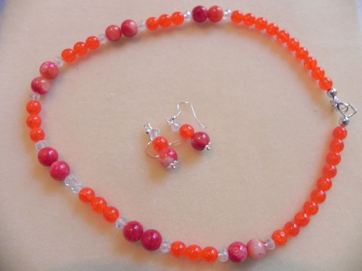 Collar Druk, collar naranja, collar con swarovski, Collar para mujer, collar para jovenes, collares de PekitasCreations en Etsy