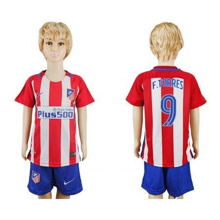 Atletico Madrid Fotbollskläder Barn 16-17 #Fernando Torres 9 Hemmatröja Kortärmad,248,15KR,shirtshopservice@gmail.com