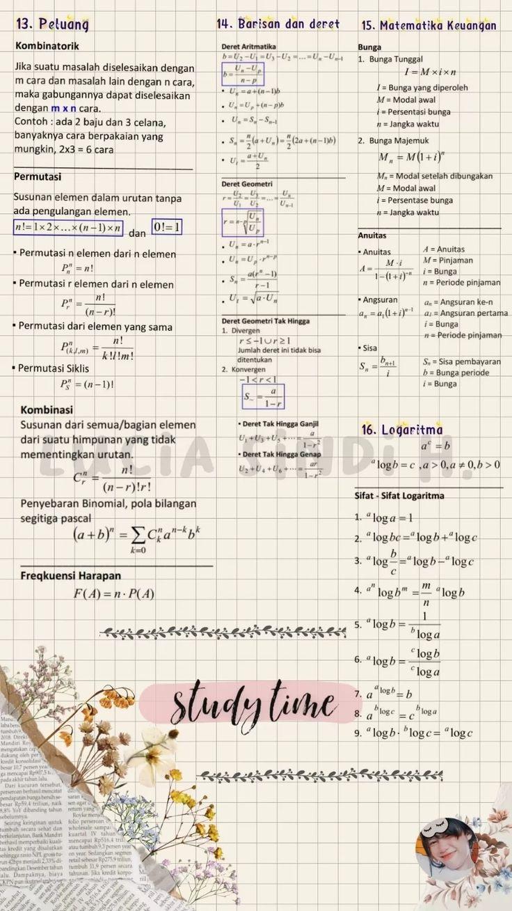 3, tin2110314, kalkulus i, 4. Catatan Tentang Kumpulan Rumus Matematika Clear Di 2021 Matematika Keuangan Pelajaran Matematika Matematika