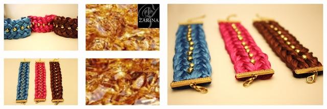 """Pulsera """"AMELIA"""" Trenzada y cosida totalmente a mano.  Disponible en otros tonos.  Exclusive by ZARINA"""