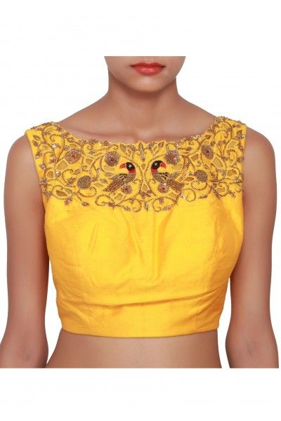 Yellow blouse featured in raw silk, embellished in gold zardozi work on the neckline both front and back only on Kalki