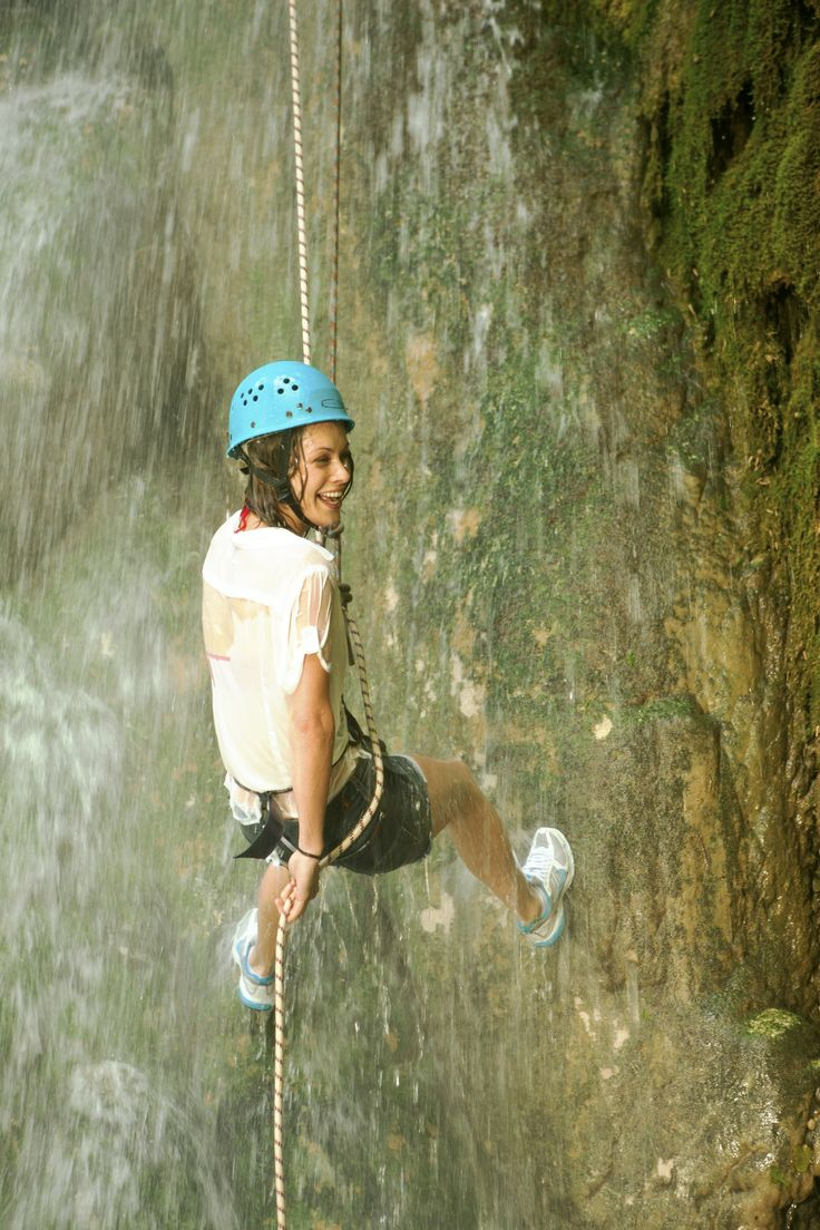Abseiling down waterfalls