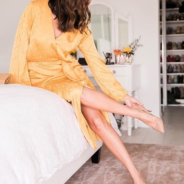 a458d7ec1b7 Elle Editor Pick | GUESS Bijou Ruffle Satin Midi Dress @sydnesummer ...