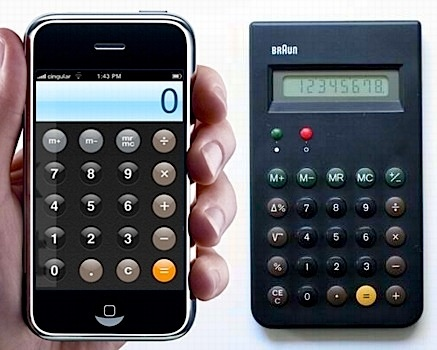 dieter rams original (right) & iphone calculator.