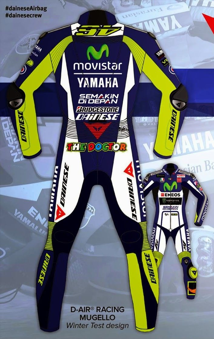 Valentino Rossi Dainese Suit. Available Now at €550 Sizes Available Delivery time: 10-15 working Days. Paypal accepted.  Free Delivery Worldwide Email: motorgarments@gmail.com