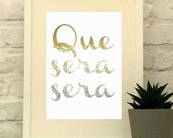 Que Sera Sera, Doris Day Quote, Living Room Decor, Available in Glitter Effect, Blues or Rainbow, Song Lyric Poster, Gift for Teenager - Edit Listing - Etsy