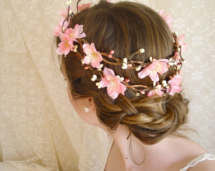cherry blossom flower head wreath - SAKURA DREAMS - a pink bridal crown