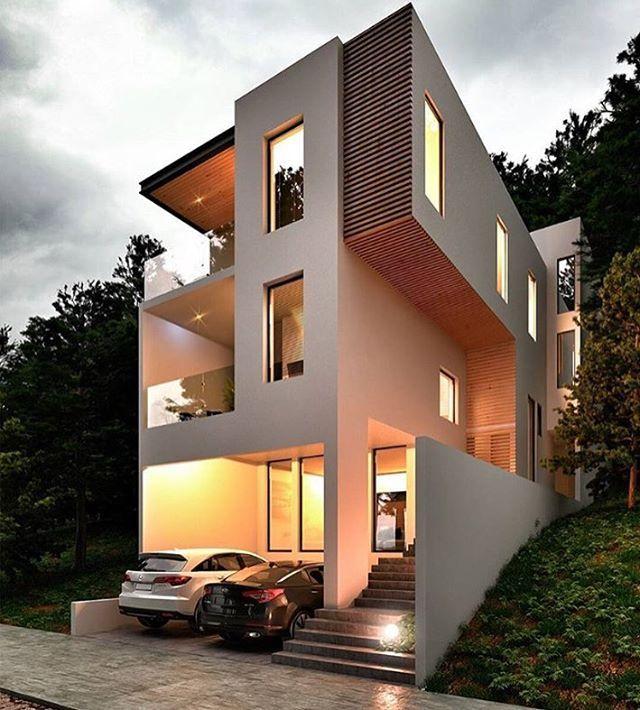 Best Exterior Design App: @modernexteriors (120k) Mixed Contemporary Exterior Homes