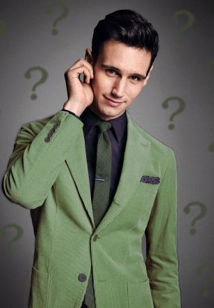 Photoshopped picture of Cory Michael Smith, with regards to his role as Edward Nygma a.k.a. the Riddler in Gotham.  You can find the original at the photoshoot of corduroy: http://www.gq.com/gallery/best-corduroy-suits?mbid=social_twitter#4