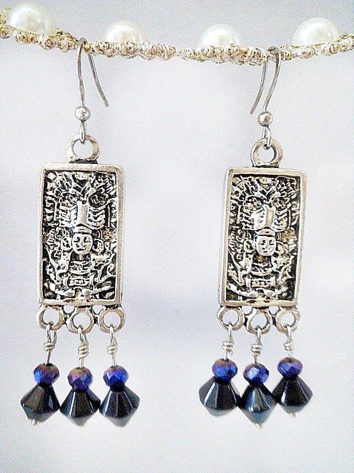 Honduras earrings • Country jewelry • Mayan Earrings • Custom Gift • Mayan Jewelry • gift for her • Historic Jewelry • Aztec Jewelry de MayanArtshop en Etsy