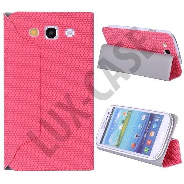 Hexagon Leather Case for Samsung Galaxy S3 - Folding Stand (Hot Pink)