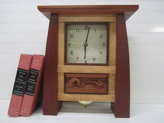 Arts and Crafts Mantel Clocks | 40% Off - Large Mantel Clock, Bungalow Clock, Arts and Crafts Clock ...