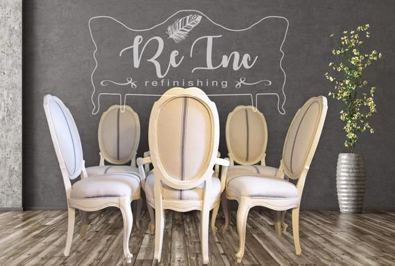 Set Of 6 Vintage White Grain Sack Fabric Dining Room Chairs Dining Chair Set Creamdiningchair Fabric Dining Room Chairs Fabric Dining Room Cream Dining Chairs
