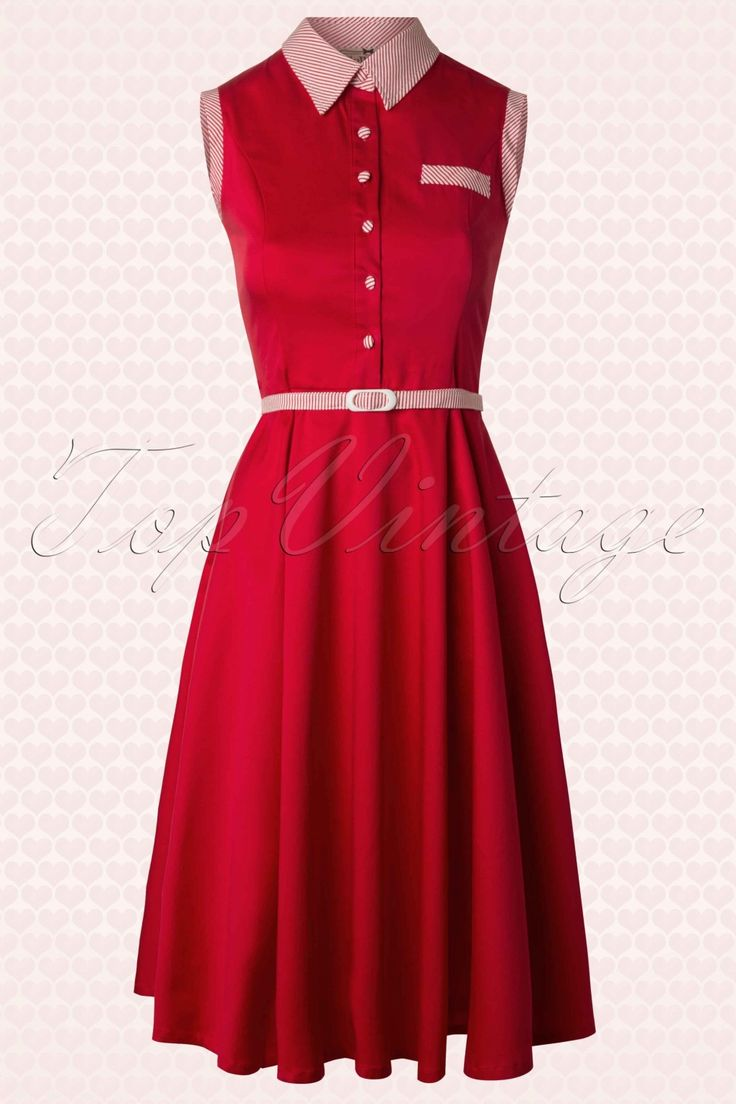 Collectif Clothing - 50s Polly Shirt Dress in Red