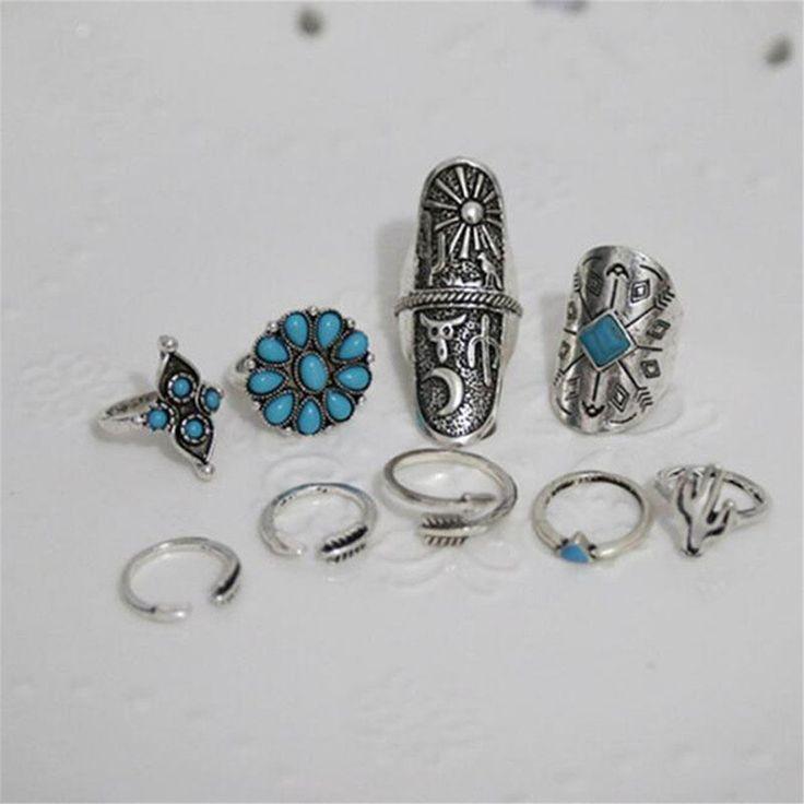 9PCS/Set Boho Style Silver Vintage Ring Women Geometry Finger Rings at Banggood
