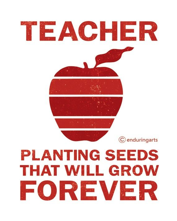 $12 on Etsy  Red Apple TEACHER Quote Typography Print