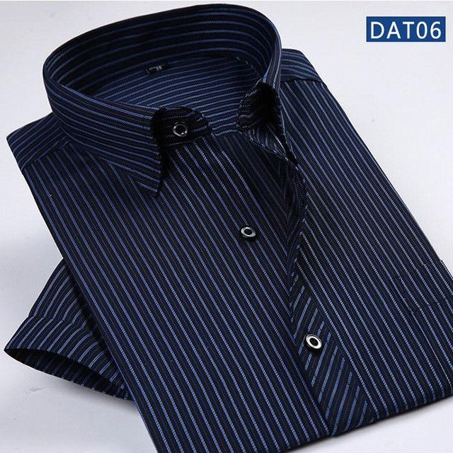 2017 Summer Fashion Men Shirt Short Sleeve Casual Social Male Dress Shirts Male Striped Shirt
