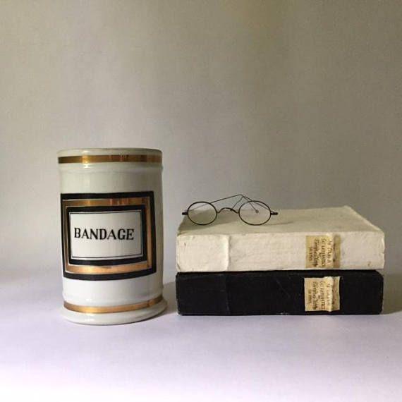 vintage apothecary pharmacy jar modern black & gold mid
