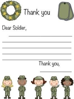 Military Letter of Appreciation Writing Prompt! {Will enclose this in our 4th of July Soldier Care Package}