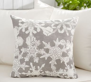 Snowflake Indoor Outdoor Pillow Potterybarn Silver And