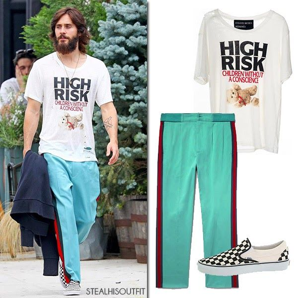 Jared Leto wearing green track pants and printed t-shirt in New York July 2017 #menswear #streetstyle #mensfashion
