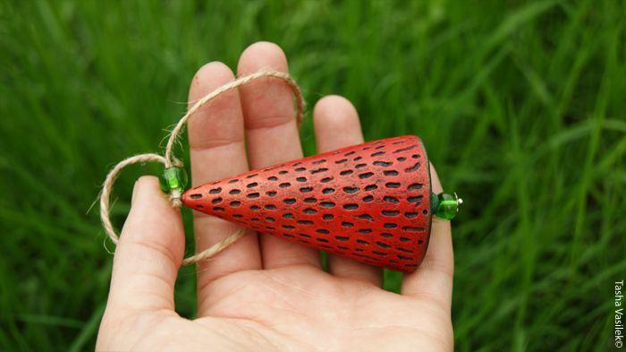 Paper Mache strawberry by Tasha Vasilek