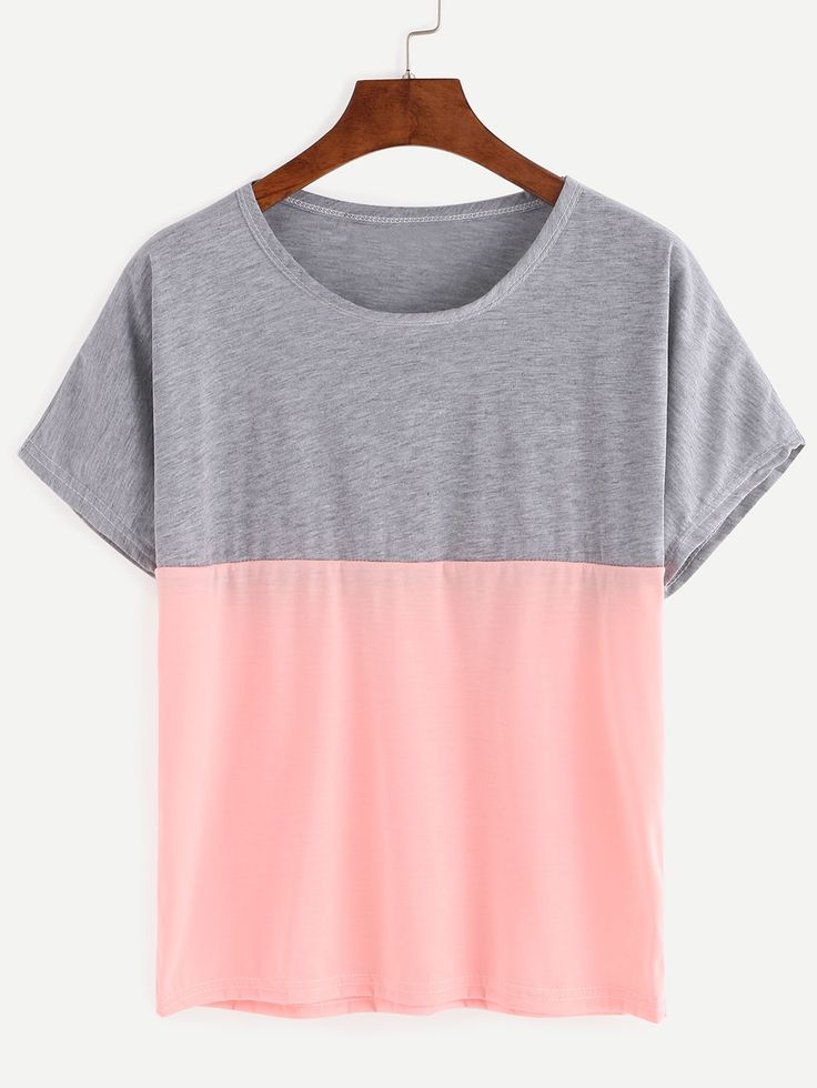 Grey+And+Pink+Color+Block+loose+T-shirt+7.99