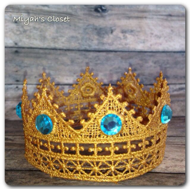 Turquoise Golden Lace Crown Majestic Lace Crown by MiyahsCloset, $10.50