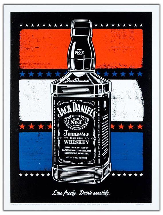 jack daniels independence bottle poster hand print