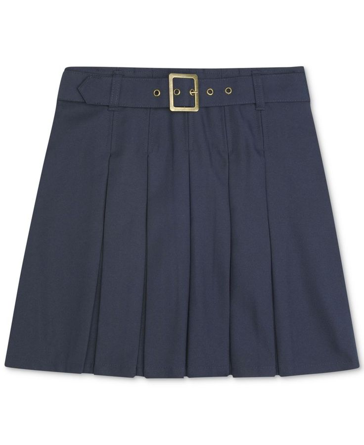 French Toast Girls' Plus Uniform Pleated Belted Scooter Skirt