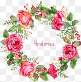 Beautifully -painted rose wreath border