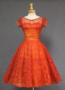 Vintage 1950s cherry red lace cocktail dress with satin ribbon trim ♥