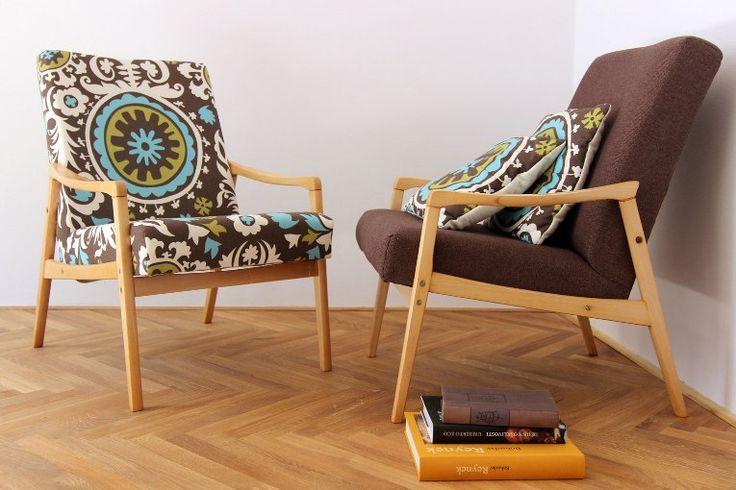 midcentury modern restored armchairs, Czechoslovakia design