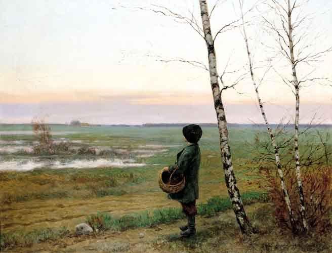 Józef Rapacki - Jesienią, odlot żurawi, 1918,