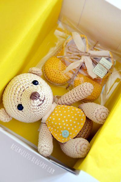 Amigurumi crochet teddy bear and baby sandals. Cute idea for baby shower gift