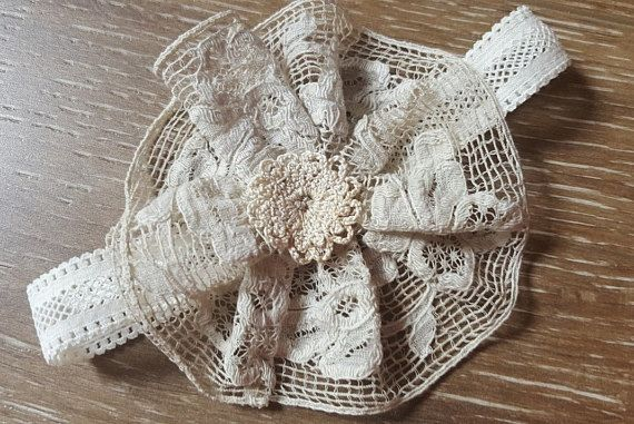 Lace Baby Headband  Vintage Baby Headband with Ecru Cotton