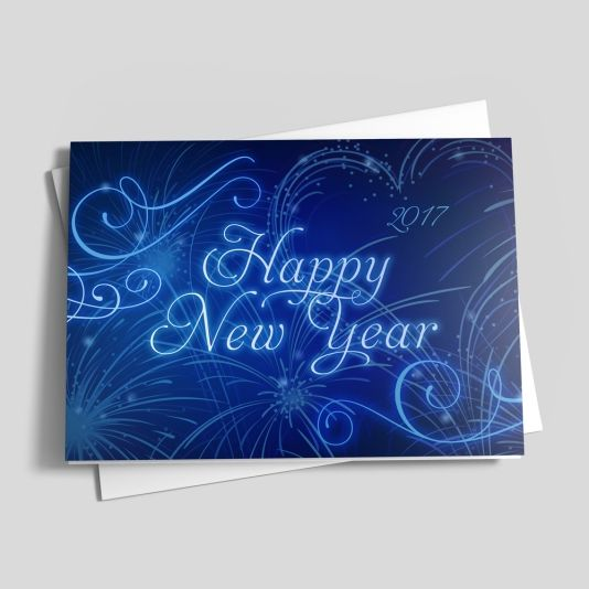 Blue Lights New Year Card - New Years from Brookhollow