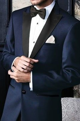 'Fitzgerald' Navy Blue w/Black Lapels Tuxedo Jacket by Cardi