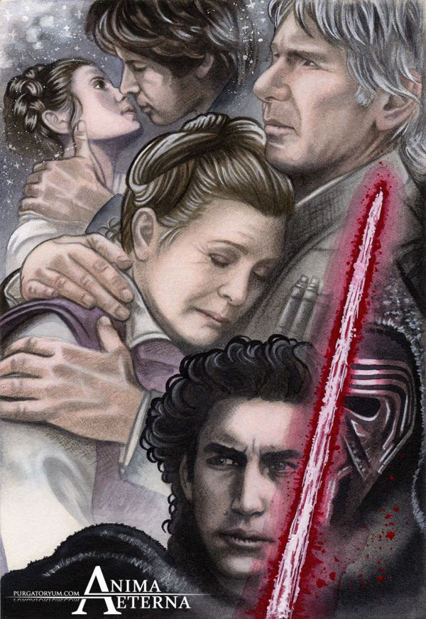 """Sky turns Dark""Star Wars Traditional Art. Painted with Watercolors & Pastel Pencils Leia Organa, Han Solo & Kylo Ren (Carrie Fisher, Harrison Ford & Adam Driver)This song h..."