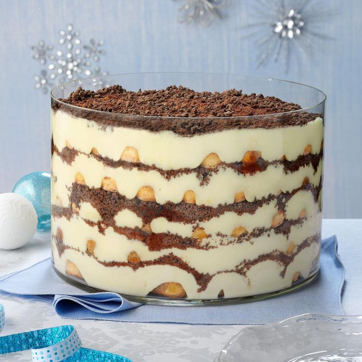Eggnog Tiramisu Trifle Recipe -Rich and absolutely fabulous—my family's five-star dessert is simply an opulent presentation that is almost too good to eat. You'll relish every luscious bite.—Tonya Burkhard, Davis, Illinois