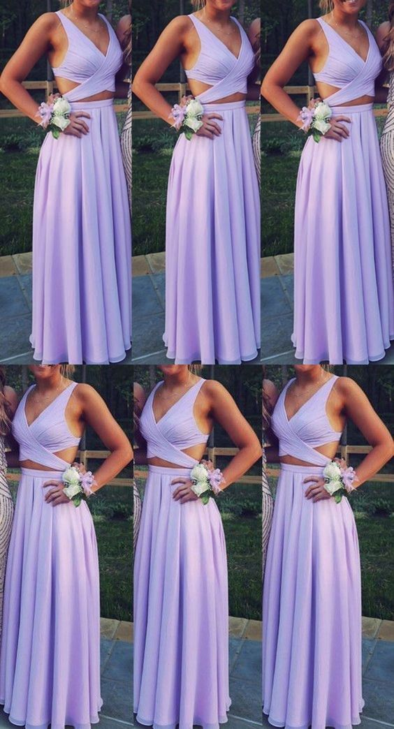 Beautiful Lavender Two Piece Chiffon Prom Dresses Long Two Piece