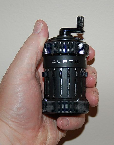 The Curta is a small, hand-cranked mechanical calculator introduced in 1948. It has an extremely compact design: a small cylinder that fits in the palm of the hand. It can be used to perform addition, subtraction, multiplication, division, and —with more difficulty— square roots and other operations.Mechanics Aesthetic, Kewl Gadgets, Compact Mechanics, Calculator Introducing, Tascabil Curtas, Handheld Mechanics, Curtas Mechanics, Curtas Calculator, Mechanics Calculator
