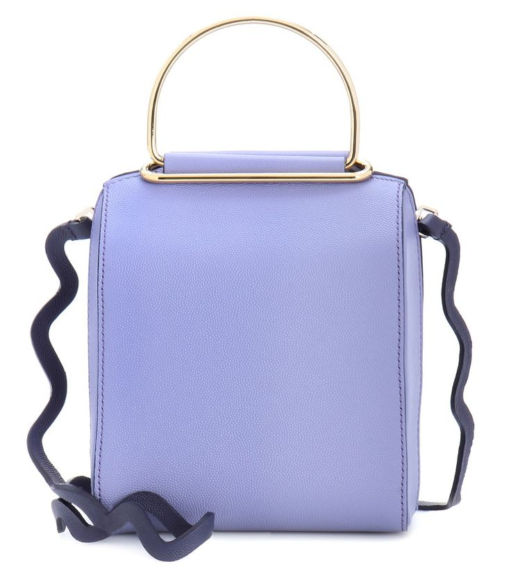 Roksanda - Besa leather shoulder bag - Crafted from grainy violet-hued leather, Roksanda's leather shoulder bag features the designer's signature minimalist approach. The structured style features glossy golden handles and a detachable zigzag shoulder strap for a touch of whimsy. Wear yours slung over the shoulder during the day, then use as a clutch for evening events. seen @ www.mytheresa.com