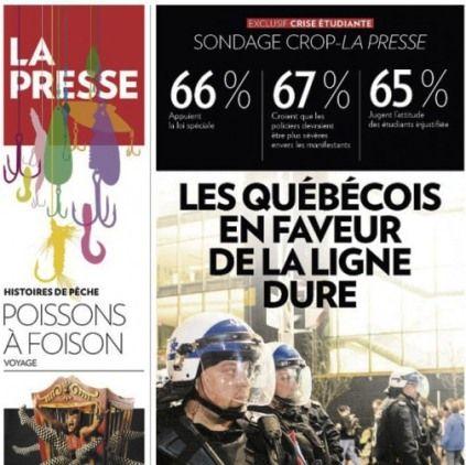 Québec : Manipulation sondagière en Une de La Presse - Acrimed   Action Critique Médias